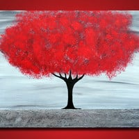 Red Tree Large 36x24 Acrylic on canvas painting gallery by OritArt