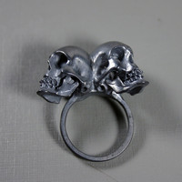 one of us. conjoined twin skull ring. sterling silver.