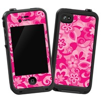 """Pink Flower Power """"Protective Decal Skin"""" for LifeProof iPhone 4/4s Case"""
