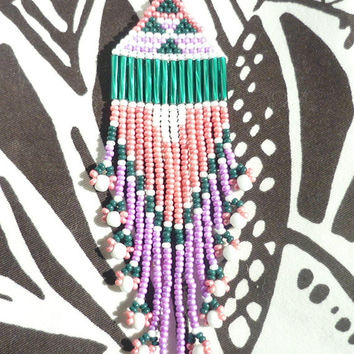 Pink, Purple, Emerald, and White Beaded Native American Earrings with Shoulder Brushing Fringe Patterned Spring White and Bright