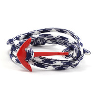 Red Anchor on Navy and White Rope