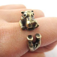 Realistic Hippo Hippopotamus Shaped Animal Wrap Ring in Brass | US Size 6 to 9