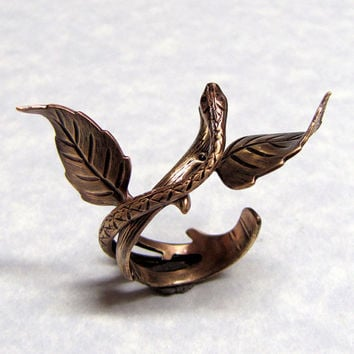 Fairytail of Snake Leaf Ring by ranaway on Etsy
