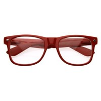 Standard Retro Clear Lens Nerd Geek Assorted Color Horn Rimmed Glasses (Red)