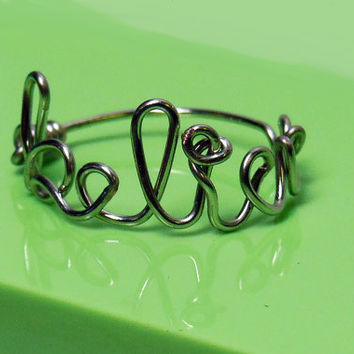 Wire Word Ring - Believe, Love, Smile
