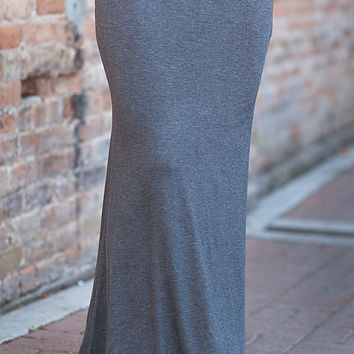 Solid Maxi Skirt Charcoal
