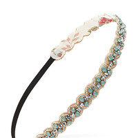 FOREVER 21 Rhinestone & Faux Gem Hairband Mint/Taupe One