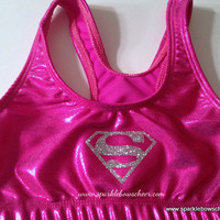 Girl of Steel Super Hero Metallic Sports Bra Cheerleading