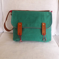 Green Waxed Canvas Single Leather Strap Shoulder bag / by ottobags