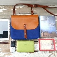 Supermarket: Blue Mini Waxed Canvas Messenger Bag - Red Leather Single Strap Shoulder bag / Messenger Bag / FREE EXPRESS SHIPPING from Ottobags