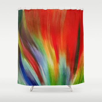 Flame Of Colour Shower Curtain by Colorful Art