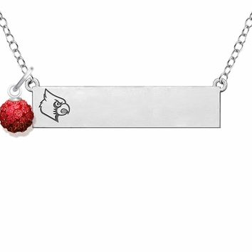 Louisville Cardinals Sterling Silver Bar Necklace with Crystal Ball Accent. College Jewelry