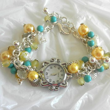 Yellow and Turquoise Watch Bracelet Silver Watch Bracelet Pearl Bracelet Gift  for Her