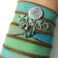 Tree of Life Silk Wrap Bracelet Om Jewelry Yoga Namaste Mother Nature Anklet Necklace Earthy Unique Gift Under 50 Item S20