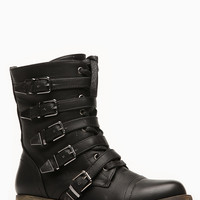 Black Faux Leather Buckle Me Up Combat Boots