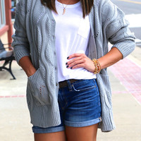 Cozy In Your Arms Cardigan Sweater {Light Gray}