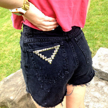 High Waisted Black Studded Shorts by MFjewels on Etsy