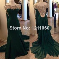 Green embroidered back prom graduation evening gown bridesmaid dress