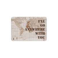 "Catherine Holcombe ""I'll Go Anywhere With You"" Brown Map Memory Foam Bath Mat"