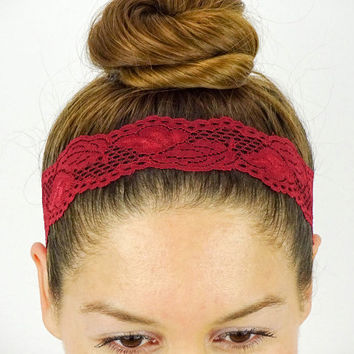 Lace Headband Stretch Headband Women Headband Dark Red headband wedding headband for yoga workout headband lace stretchy headband lacey