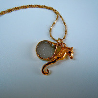 Sea horse and drusy charming necklace by wingflash on Etsy