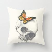 Skull and Butterfly Throw Pillow by haleyivers
