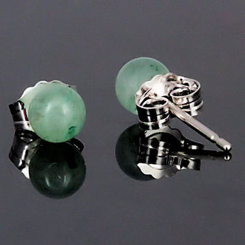 Natural Green Jade Aventurine 4mm Ball Stud Post by 1000jewels