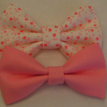Set of Two Hair Bows  Pink hearts fabric bow by ClipaBowBoutique