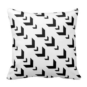 Modern B&W Pillow, Black Chevrons on White