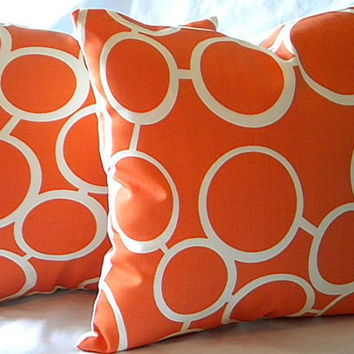 Trina Turk Orange Indoor/Outdoor Sunglass Pillow cover 18 X 18