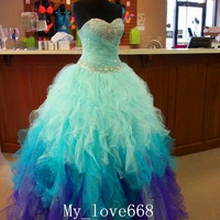 2015 New Blue Quinceanera Dresses Bridal Gown Pageant Formal Prom dresses Custom