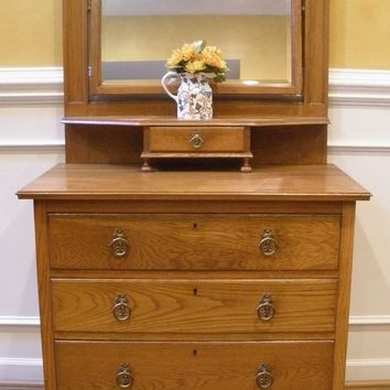 Antique English Oak Victorian Mirrored Dressing Table, Vanity.