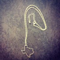 State Necklace - Texas - Gold