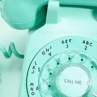 Vintage Rotary Telephone Photography Print Mint Green Pastel Macro Close-Up Wall Art Home Decor 5x7