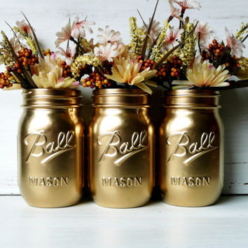 Gold Painted Ball Mason Jars - Vase - Utensil Holders - Pint