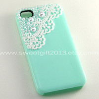mint green Iphone 4 Case, Lace iPhone 4s Case, Romantic Lace Trim iPhone 4 Hard Case, iPhone Case cover