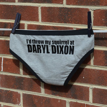 "The Walking Dead TV show inspired Hipster Panties ... "" I'd Throw My Squirrel at Daryl Dixon "" ...  Womens Underwear"