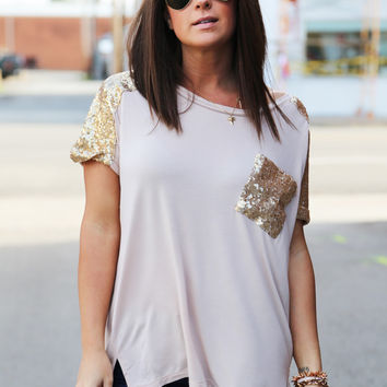 Turn On The Sequin Tunic {Beige}