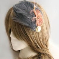 Pink peacock feather fascinator with gray by CastleMemories