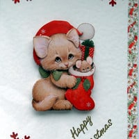 Christmas Card - Happy Christmas Hand-Crafted 3D Decoupage Card - Happy Christmas (1763)