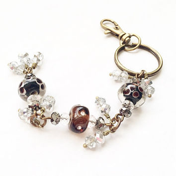 Beaded Keychain, Brown Lampwork Glass, Flower Keychain, Purse Jewelry Accessory Gift, Crystal Glass Rhinestone