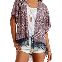 Coral Crochet-Trim High-Low Kimono by Charlotte Russe