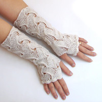 White bridal gloves, crochet armwarmers, long lace fingerless gloves, white wool fingerless mittens, spring trends