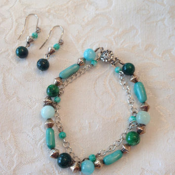 Shades of Greens Silver tone Double Strand beaded bracelet and earring set Women Girls Jewelry Elegant Chic