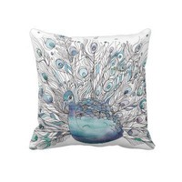Peacock Pillow with Peacock pattern Back from Zazzle.com