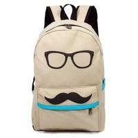 Fashion Cute Funny Beige Canvas Mustache With Glasses School Campus Bag Backpack Book