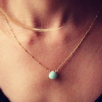 Amazonite faceted heart briolette gemstone on a 14k gold fill chain, simple gold necklace