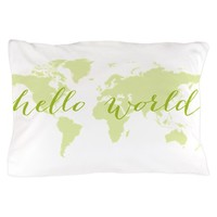 Hello world map Pillow Case