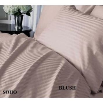 SOHO Egyptian cotton 500 Thread Count Sateen Stripe 4 Pc Comforter Set - Blush CalKing SOLD BY VANESSA CLASSIC