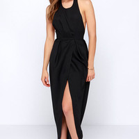 Passion for Fashion Backless Black Maxi Dress